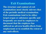 exit examinations