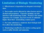 limitations of biologic monitoring