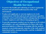 objectives of occupational health services