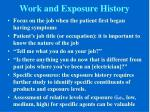 work and exposure history