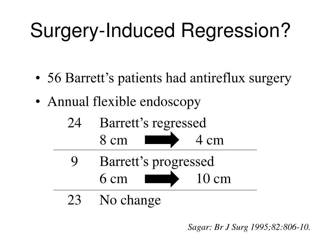 56 Barrett's patients had antireflux surgery
