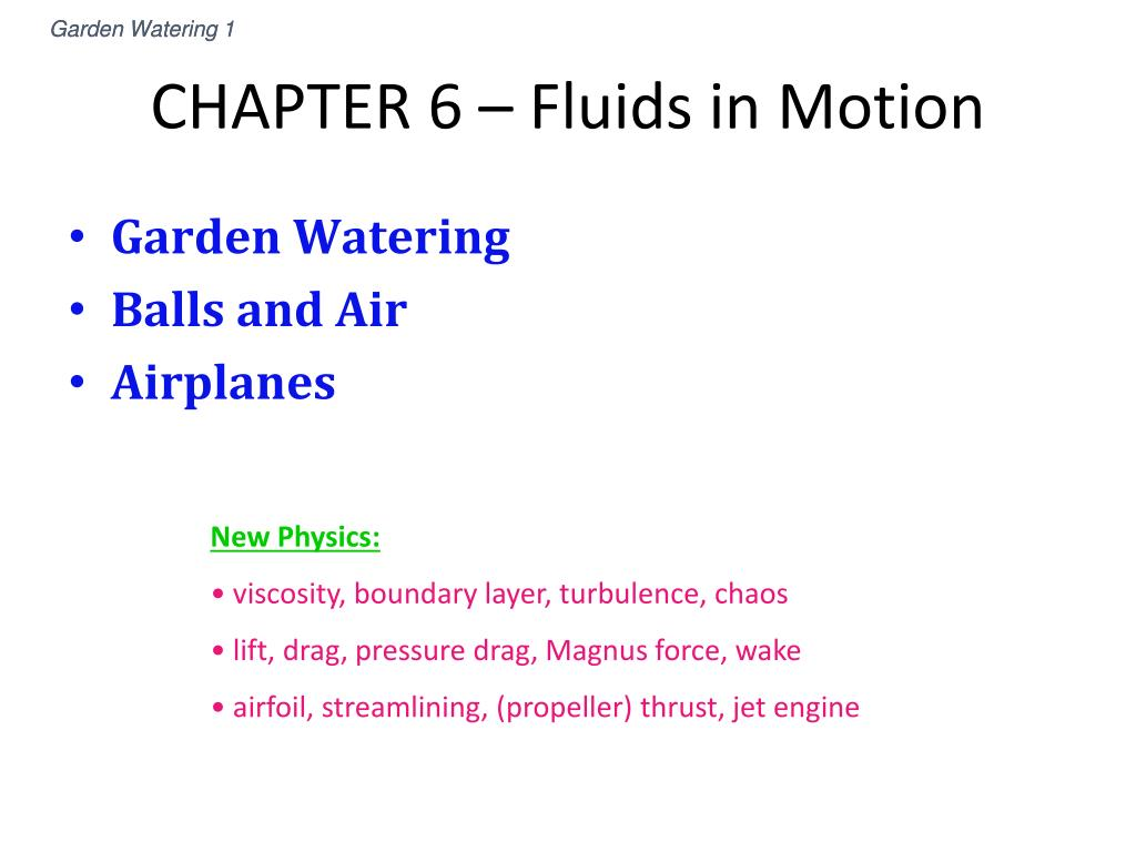 chapter 6 fluids in motion l.