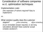 consideration of software companies w r t optimization techniques