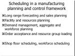 scheduling in a manufacturing planning and control framework