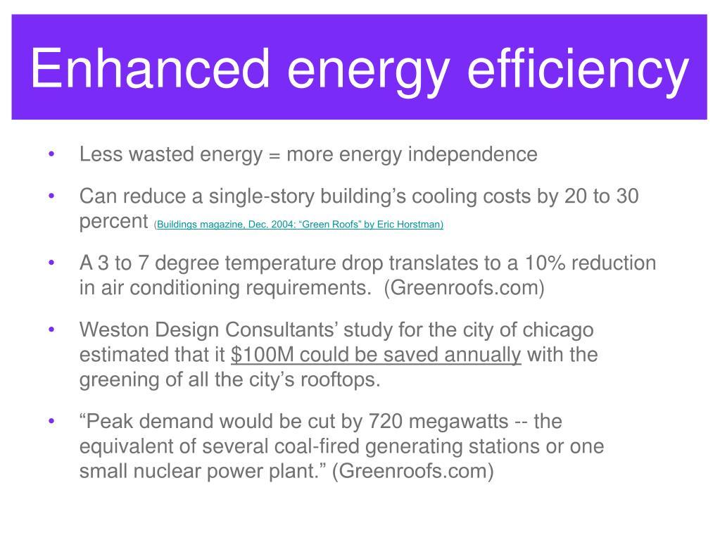 Enhanced energy efficiency