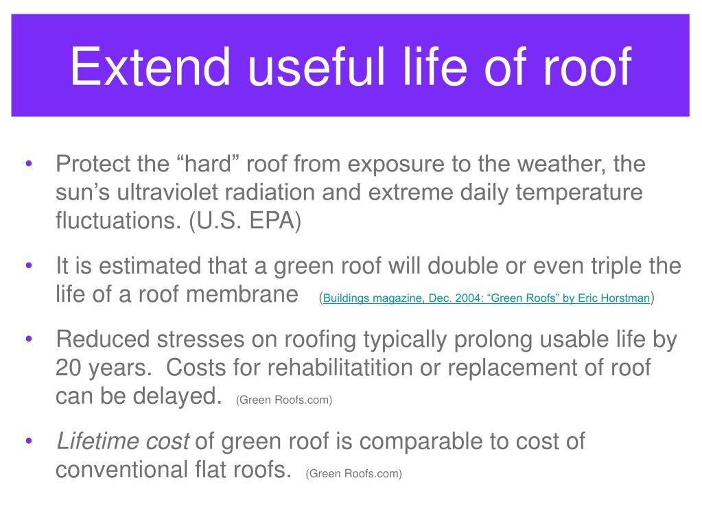Extend useful life of roof