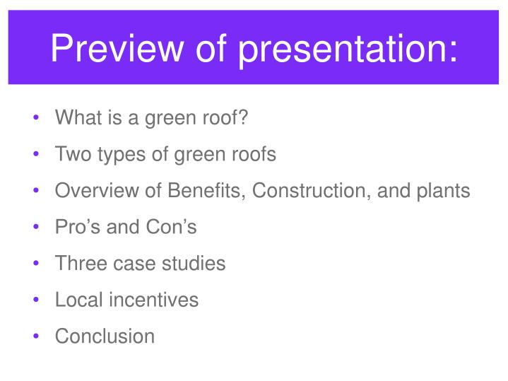 Preview of presentation