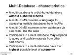 multi database characteristics