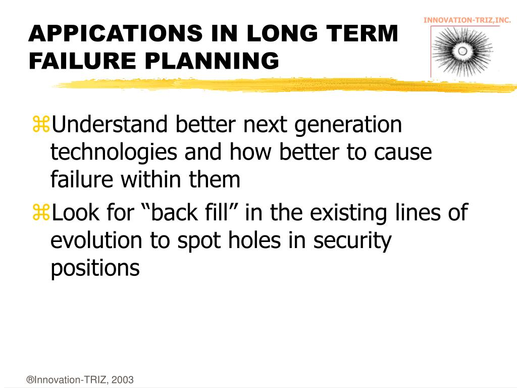 APPICATIONS IN LONG TERM