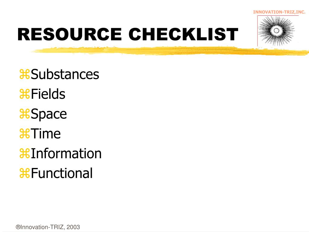 RESOURCE CHECKLIST