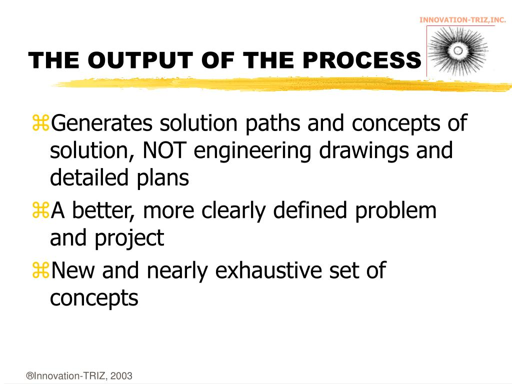 THE OUTPUT OF THE PROCESS