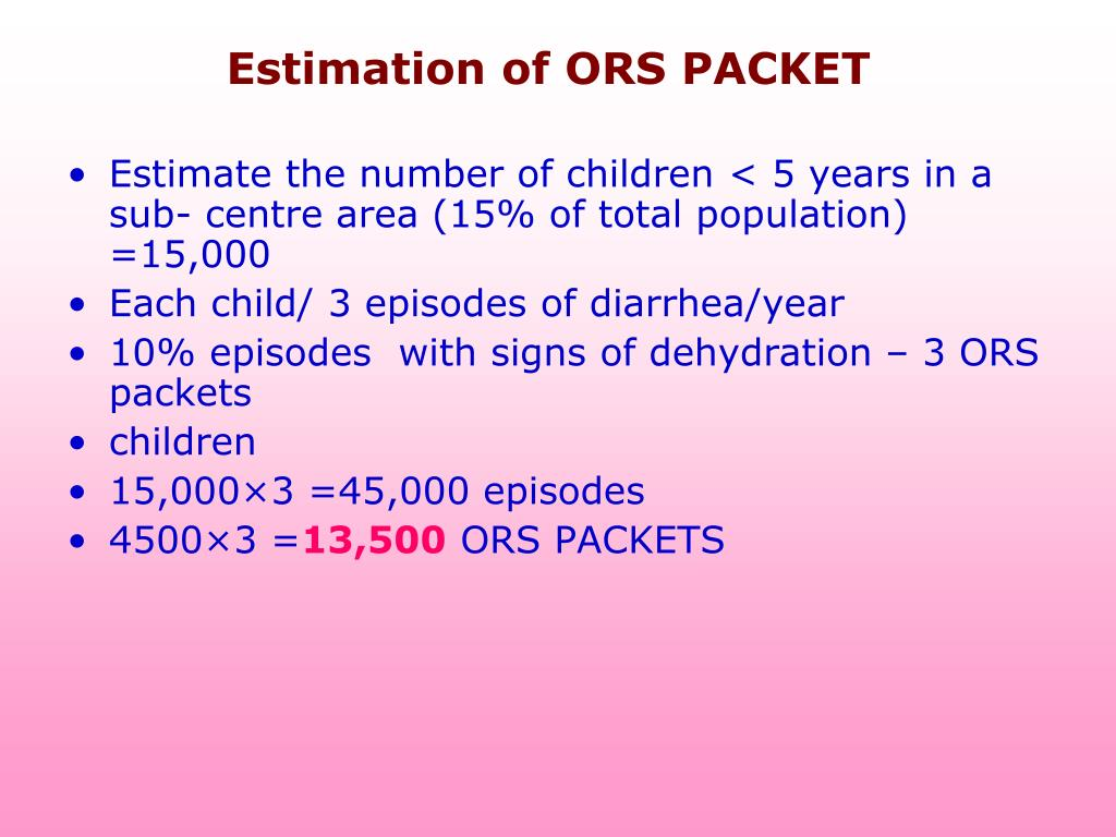 Estimation of ORS PACKET