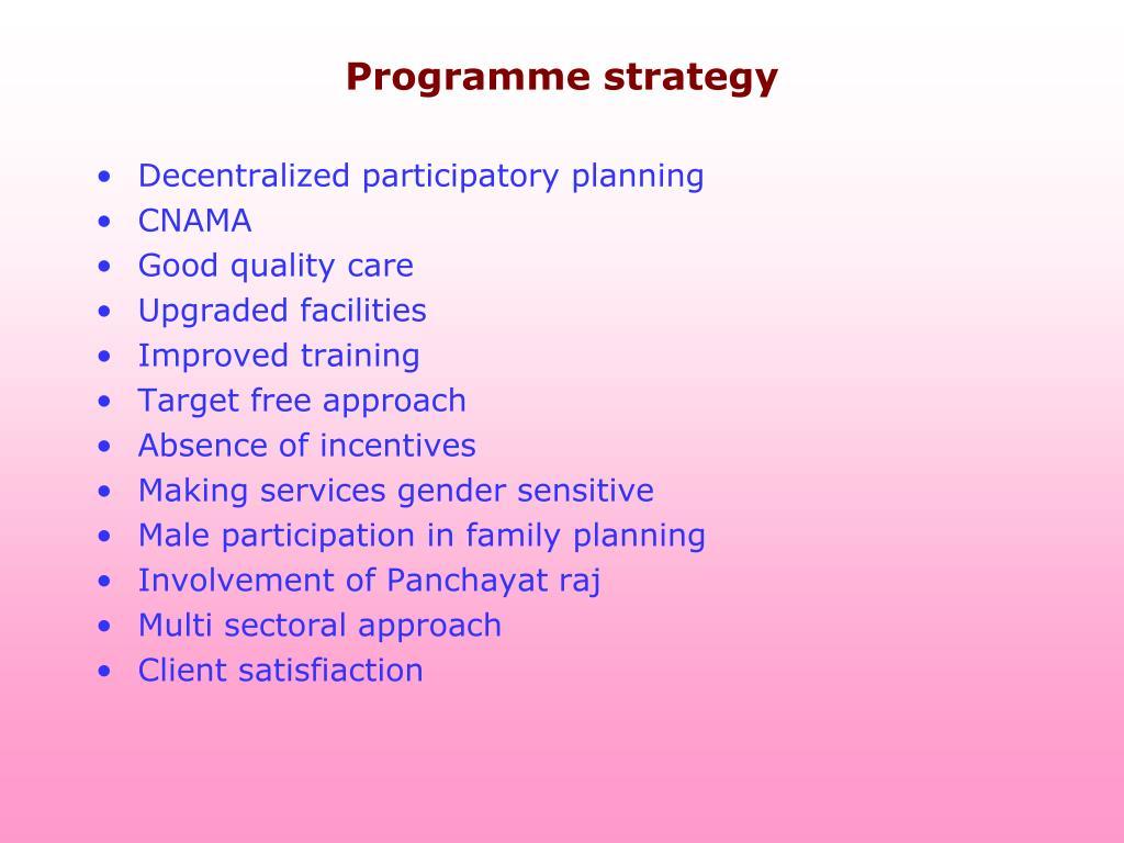 Programme strategy