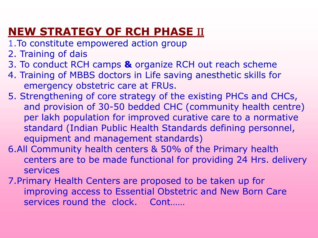 NEW STRATEGY OF RCH PHASE
