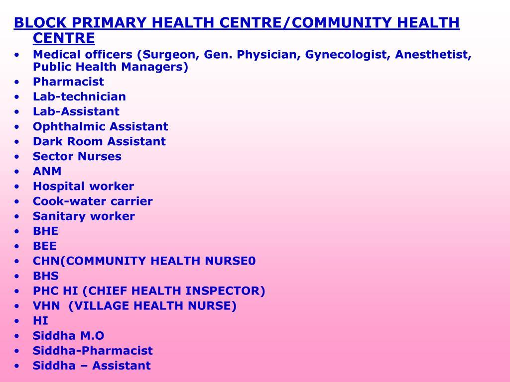 BLOCK PRIMARY HEALTH CENTRE/COMMUNITY HEALTH CENTRE