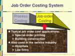 job order costing system