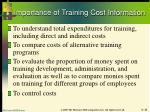 importance of training cost information