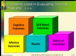 outcomes used in evaluating training programs 1 of 4