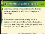 reasons for evaluating training 1 of 2