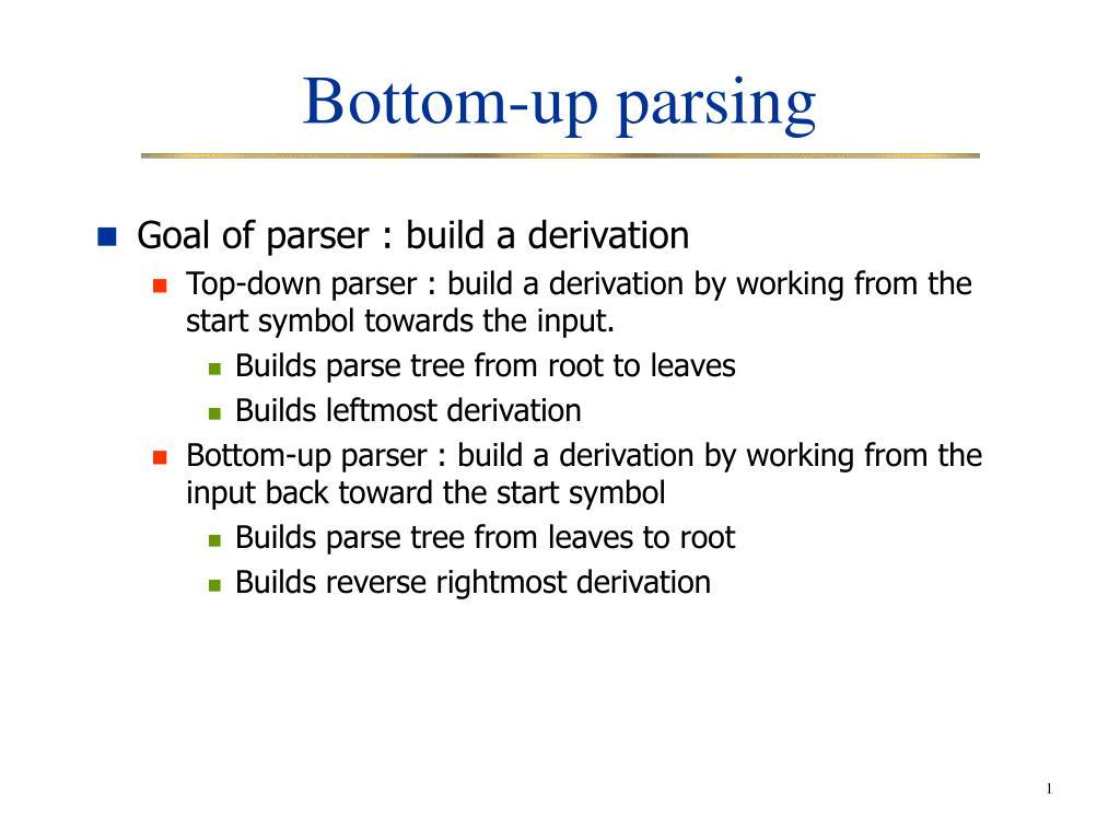 bottom up parsing l.