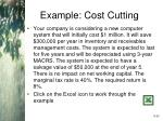 example cost cutting