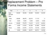 replacement problem pro forma income statements