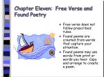 chapter eleven free verse and found poetry