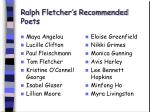 ralph fletcher s recommended poets