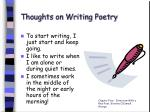 thoughts on writing poetry
