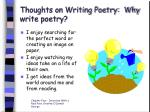 thoughts on writing poetry why write poetry