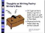 thoughts on writing poetry writer s block