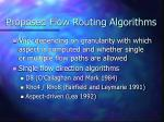proposed flow routing algorithms