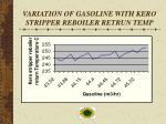 variation of gasoline with kero stripper reboiler retrun temp