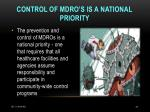 control of mdro s is a national priority
