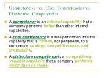competencies vs core competencies vs distinctive competencies