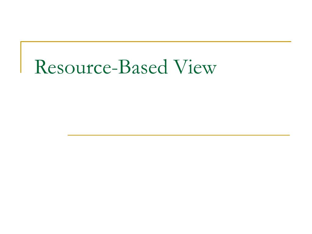 resource based view l.