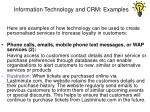 information technology and crm examples