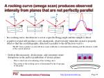 a rocking curve omega scan produces observed intensity from planes that are not perfectly parallel