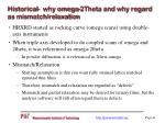 historical why omega 2theta and why regard as mismatch relaxation