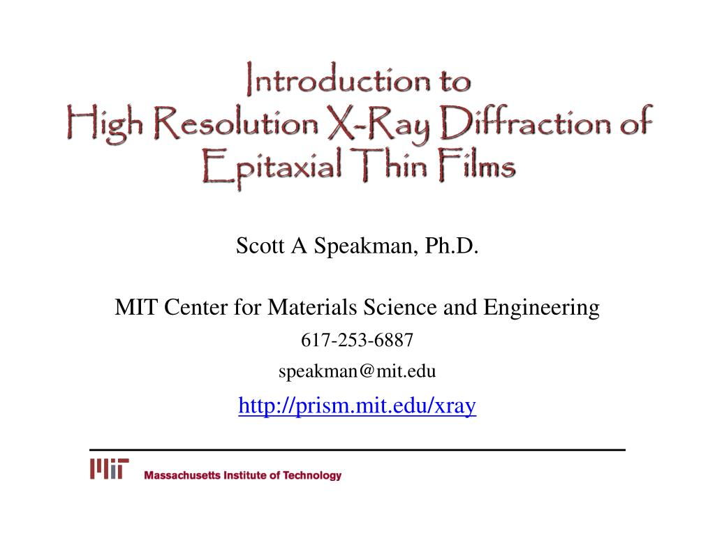 introduction to high resolution x ray diffraction of epitaxial thin films l.