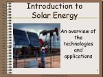 introduction to solar energy