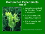 garden pea experiments 1856 64