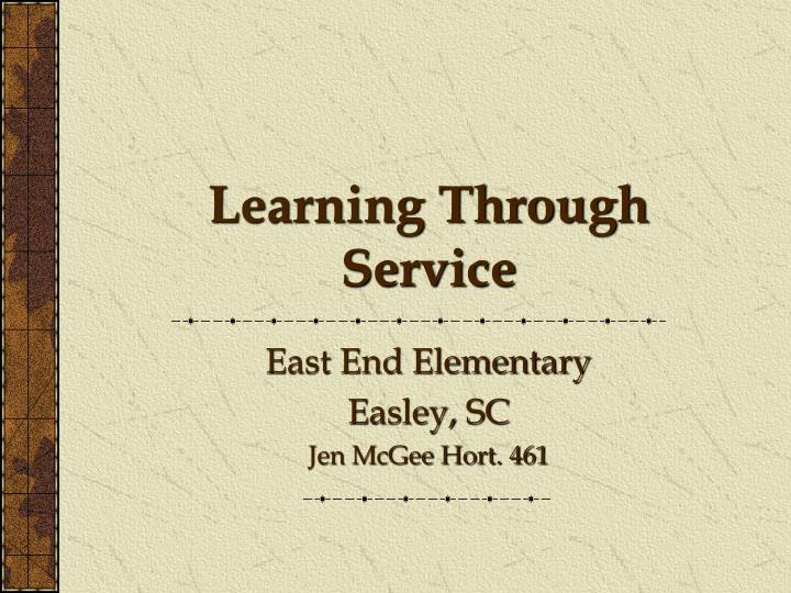 learning through service n.