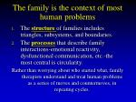 the family is the context of most human problems23