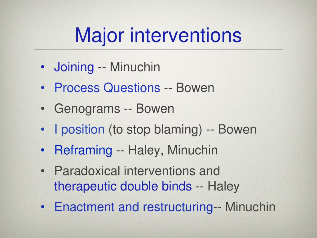 Major interventions