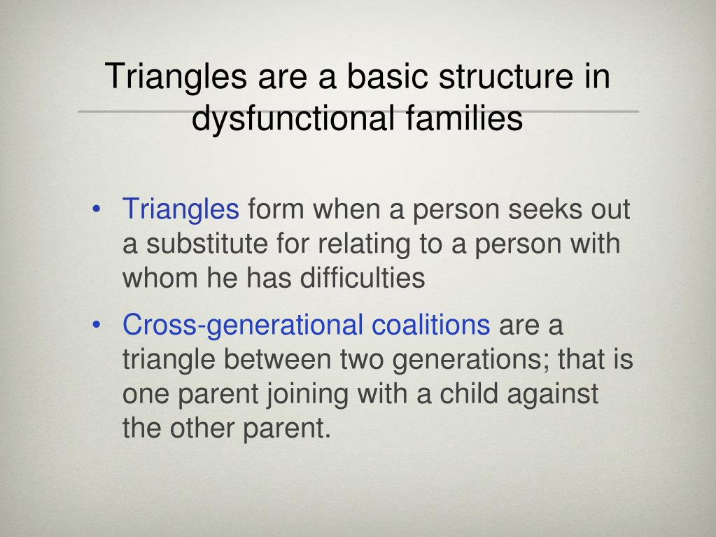 Triangles are a basic structure in dysfunctional families