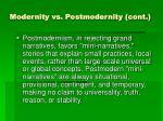 modernity vs postmodernity cont11