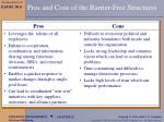 pros and cons of the barrier free structures