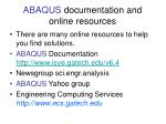 abaqus documentation and online resources