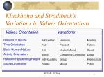 kluckhohn and strodtbeck s variations in values orientations8